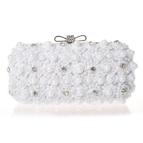White Flowers Evening Hand Bag Noble Ladies Pearl Wedding Party Dressed Clutch BagsRhinestone Bow Mini Purse bolsos mujer XA40H - FabFunBride