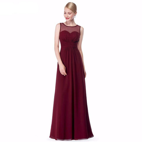 Long Chiffon Bridesmaid Dress Illusion Mesh Burgundy Plus Size A Line Sleeveless - FabFunBride