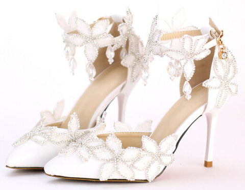 Elegant Lace Flower Crystal Bridal Shoes - FabFunBride