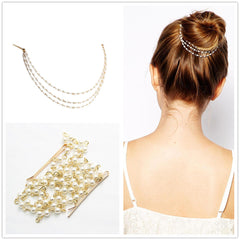 Vintage Hair Accessories Double Gold Chain Leaf Comb Hairpiece - FabFunBride