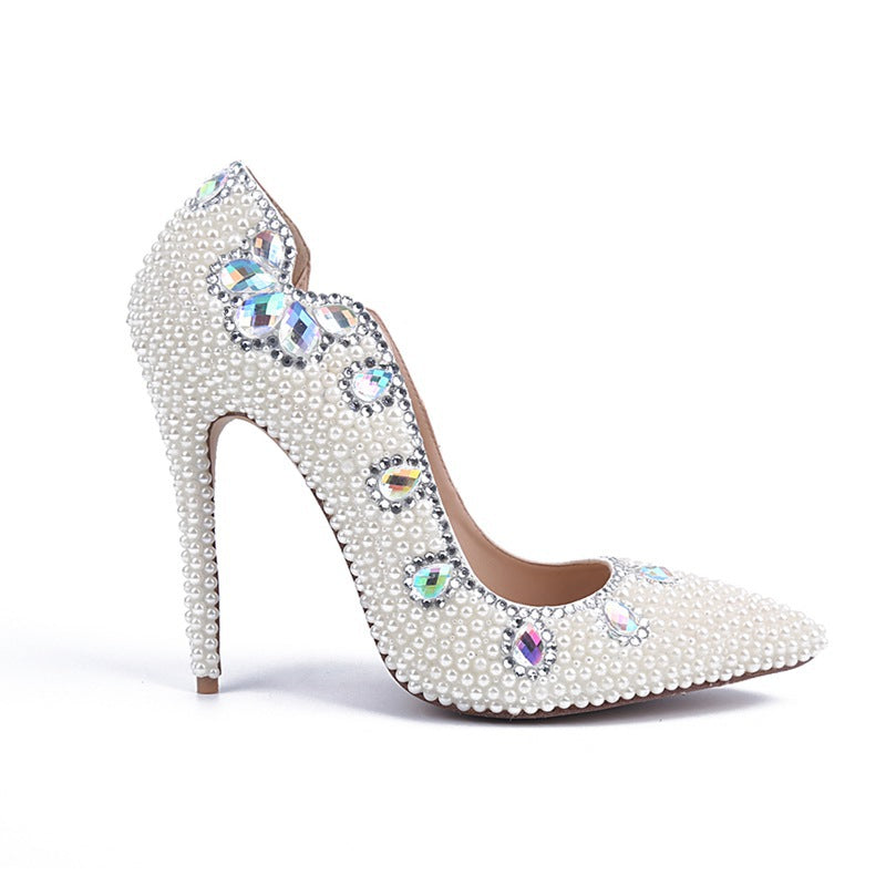 f40d2724644 Bling White Pearls Wedding Shoes Thin High Heels Bridal Shoes - FabFunBride