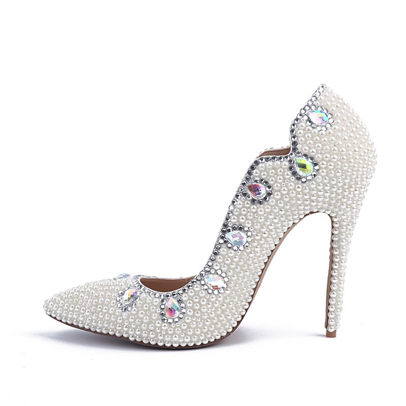 Bling White Pearls Wedding Shoes Thin High Heels Bridal Shoes - FabFunBride