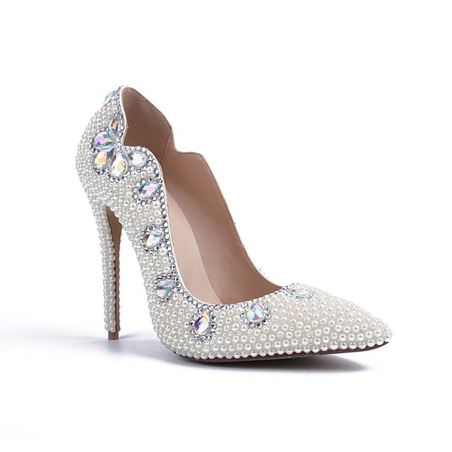 dcbec181736 Bling White Pearls Wedding Shoes Thin High Heels Bridal Shoes - FabFunBride