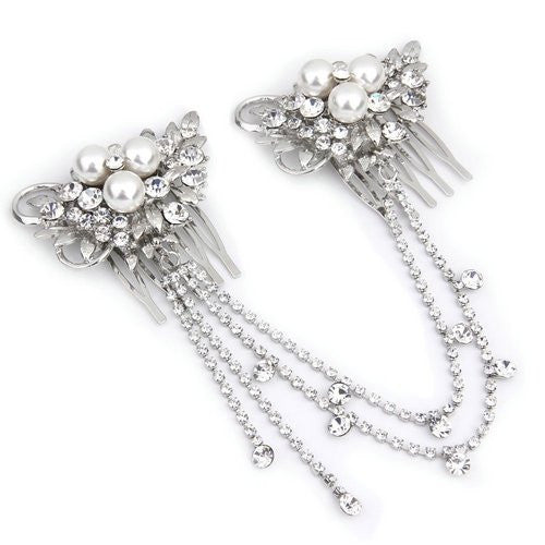 Pearl and Crystal Hairpiece - FabFunBride