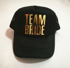 Team Bride team bride hats golden printing Bachelorette Hats Women Wedding Preparewear Trucker Cap - FabFunBride