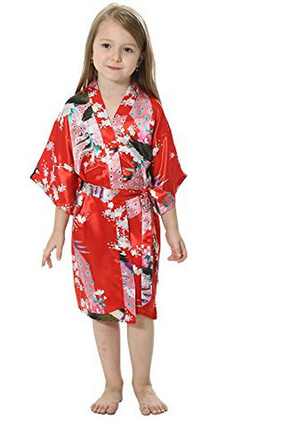 1cfcdfb245 RB009 Peacock Kids Robe Satin Children Kimono Robes Bridesmaid Flower Girl  Dress Silk children s bathrobe Nightgown
