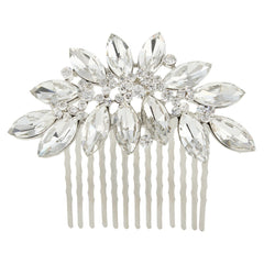 Crystal Silver Plated Oval Tear Drop Flower Bridal Hair Comb - FabFunBride