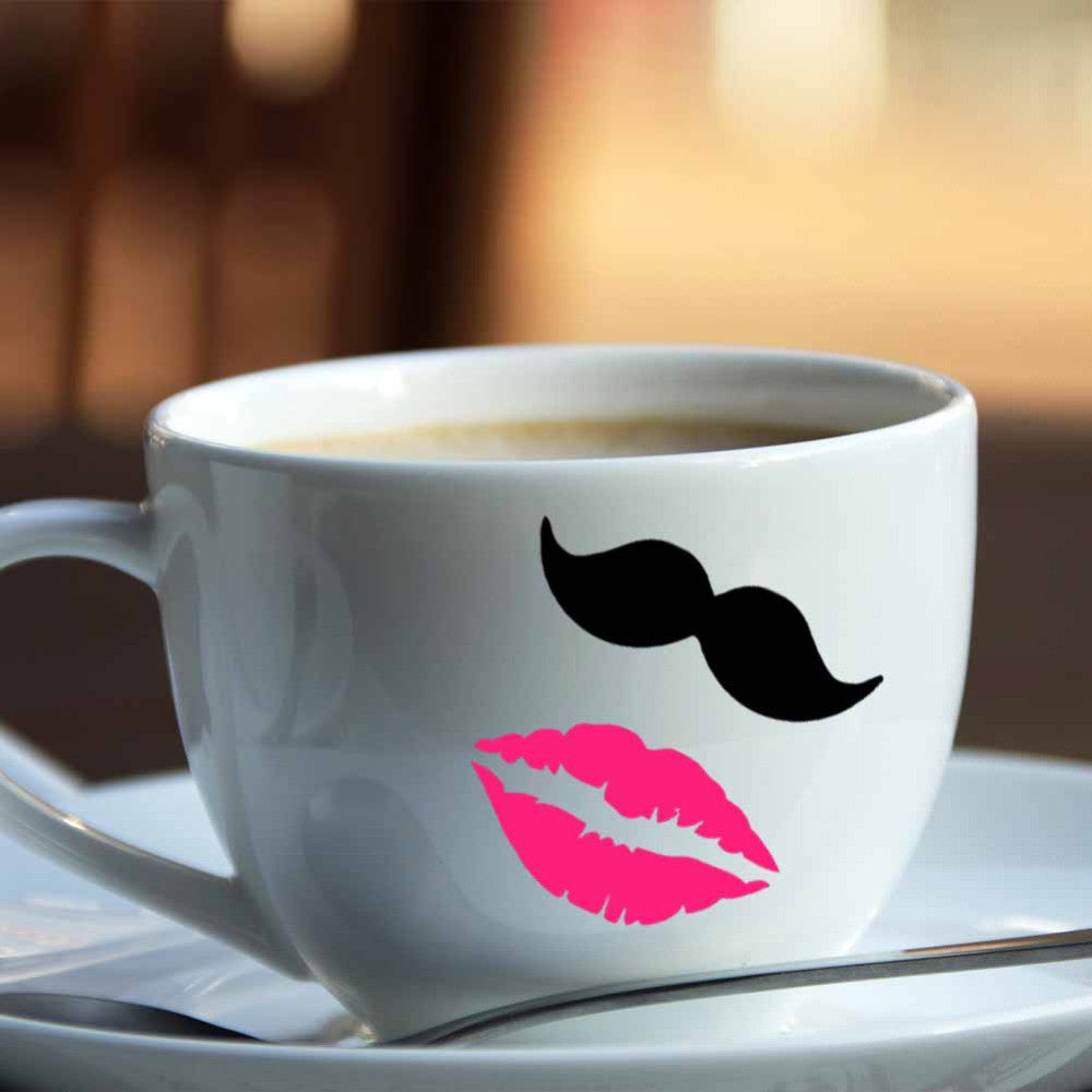 10 Mustaches & 10 Lips Vinyl Decal Stickers For Wedding Decoration, Mugs, Cups, Wine Glass - FabFunBride
