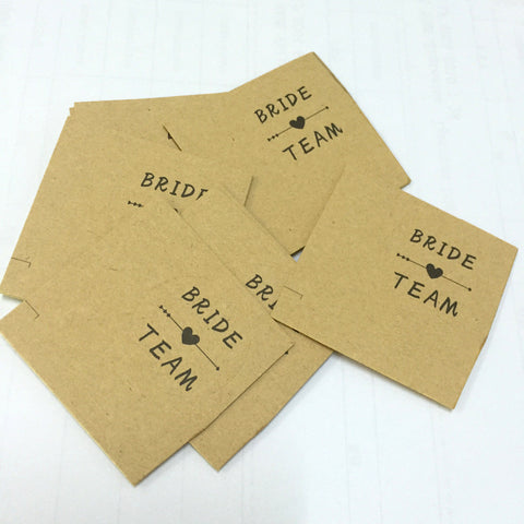 20pcs/lot Kraft paper bride team Self-adhesive Stickers Bridesmaids gift sticker paper Labels sticker wedding supplies 3cm*3cm - FabFunBride