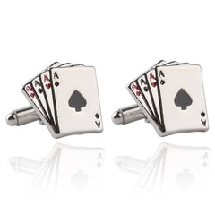 Groomsmen Cards Poker Mens Cufflinks Exquisite Silver For Gentlemen Suits Cufflink Jewelry Gift - FabFunBride
