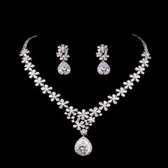Gold Plated Floral CZ Bridal Set - FabFunBride