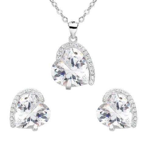 BELLA Genuine 925 Sterling Silver Heart Bridal Necklace Earrings Set Clear - FabFunBride