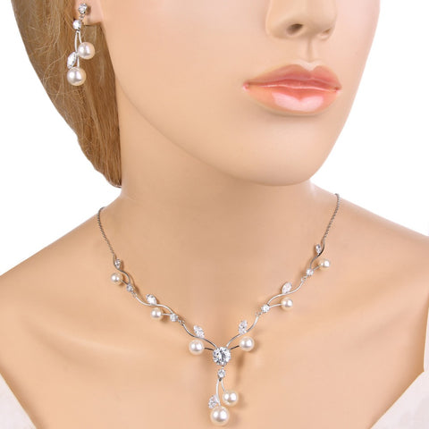 Cubic Zircon Bridal Necklace Earrings Set Ivory Pearl - FabFunBride