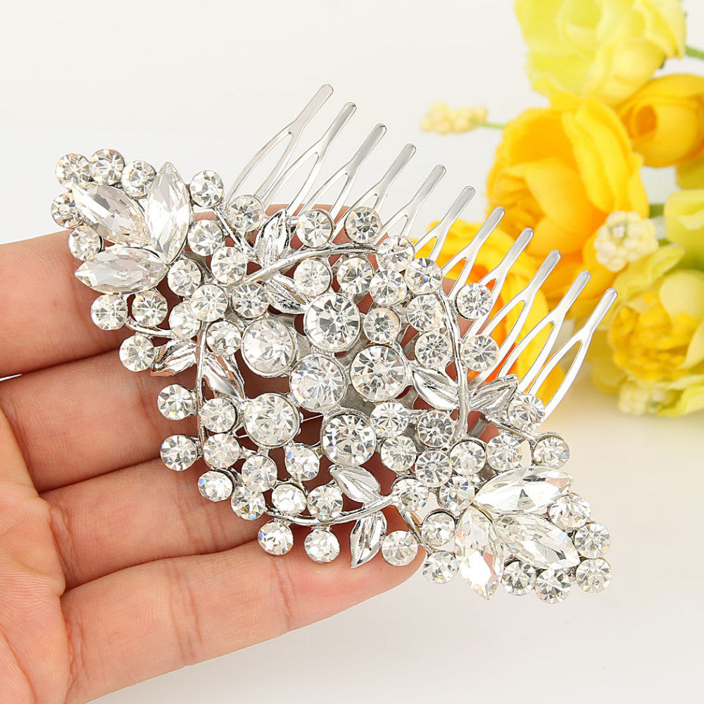 BELLA Flower Bridal Jewelry Hairpiece Clear Austrian Crystal Wedding Hair Accessories For Women Bridesmaid Hair Comb - FabFunBride