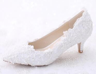 Floral Pearl Wedding Shoes Pumps - FabFunBride