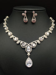 Elegant water drop zircon necklace earring set - FabFunBride