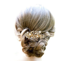 Gold- Crystal & Pearl Hairpiece - FabFunBride