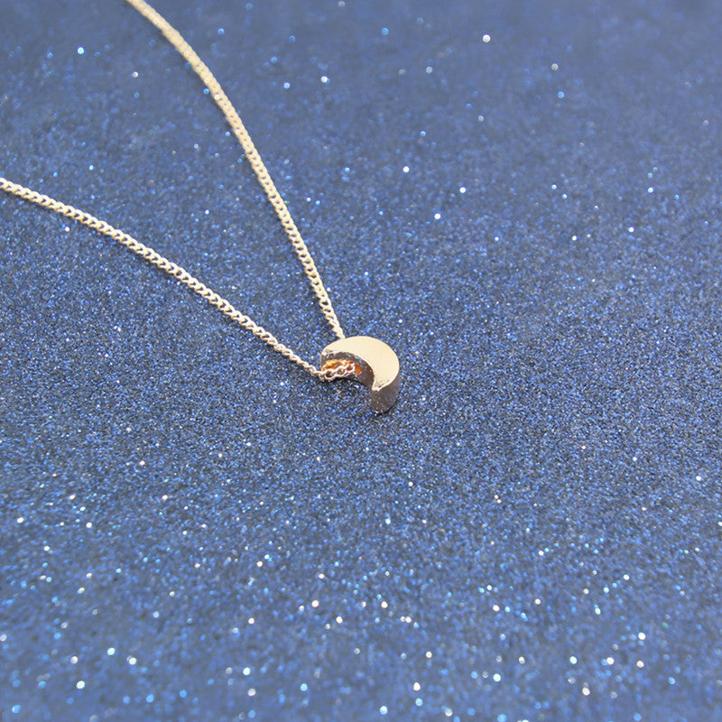 Minimalist Crescent Moon Silver Gold Necklace Solid - FabFunBride