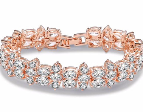 Luxury Cluster Oval Cubic Zircon Rhinestone Bracelets Best With Sparkling Rose Gold Plated - FabFunBride