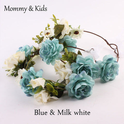Mommy & Kids Girls Beautiful Floral Wreath Flowers Headband Crown Headwear - FabFunBride