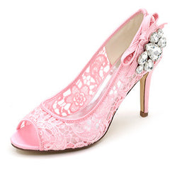 Peep top Crystal Lace Mesh Wedding Shoes - FabFunBride