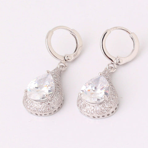 Teardrop Dangle Earring Color 5 Zircon - FabFunBride