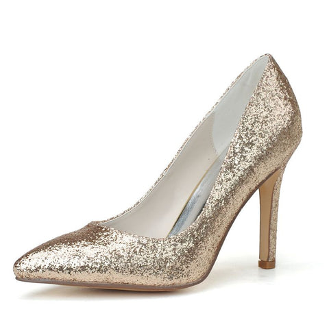 Metallic Sparkle Bridal Pump Gold or Silver - FabFunBride