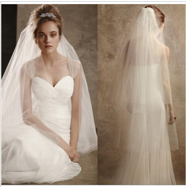 3 Layers White Bridal Veil - FabFunBride