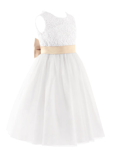 Flower Girl Lace Dress with Cutout and sash - FabFunBride