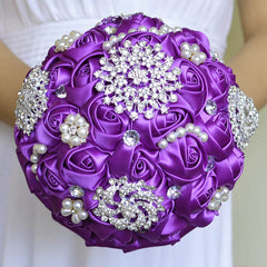 Bridal Bouquets Sliver Rose Luxury Diamond Crystal - FabFunBride
