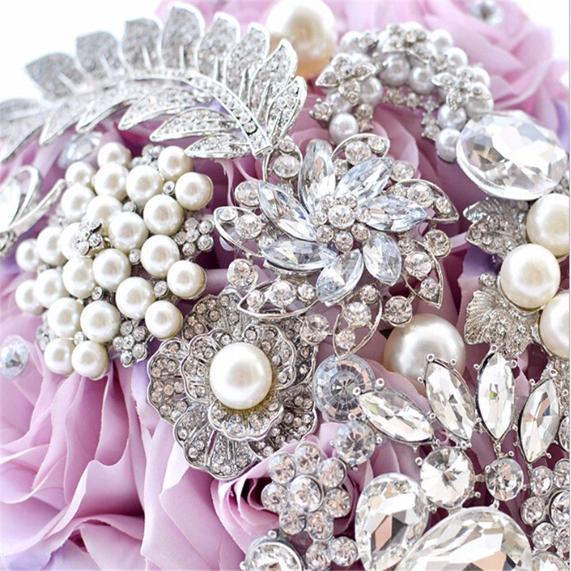 Ivory Purple Crystal Bouquet - FabFunBride