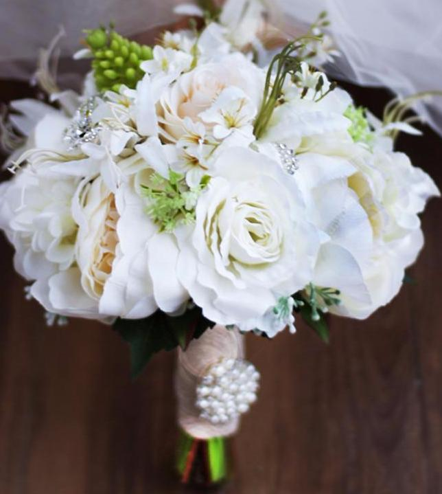 Rose Bridal Bouquet White Artificial Wedding Bouquets With Crystal Pea