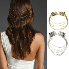 Simple Hairpiece Gold or Silver Boho - FabFunBride