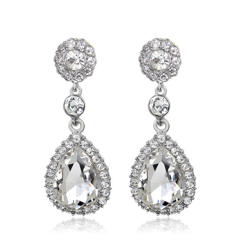Teardrop Crystal Earrings - FabFunBride