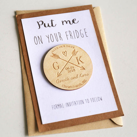 Custom Rustic Wood Engraved Save the Date Magnet - FabFunBride