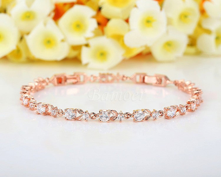 Luxury Rose Gold Color Link Bracelet AAA Cubic Zircon - FabFunBride