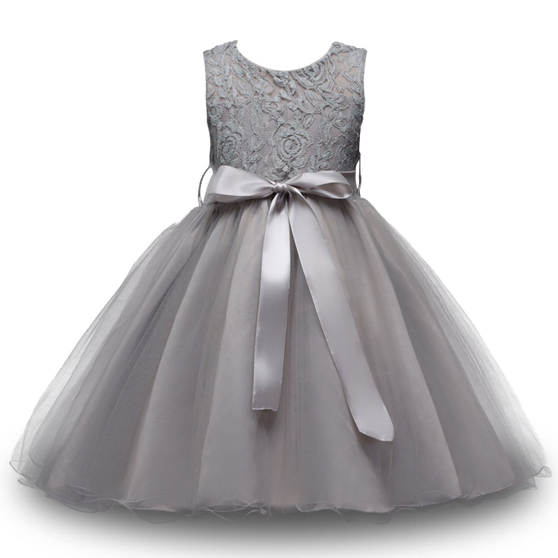 High quality Flower Girl Dress charcoal grey with lace - FabFunBride