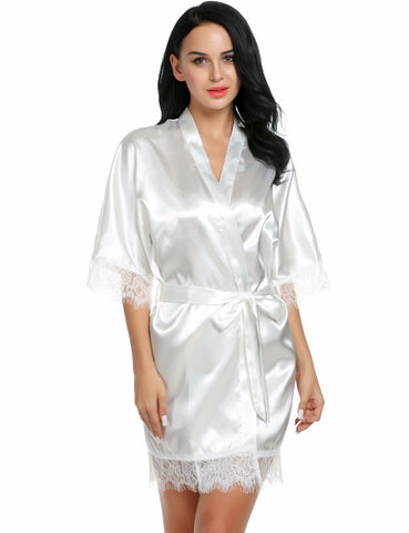 6 COLOURS Short Satin Bride Robe Lace Silk Kimono Bathrobe Summer Bridesmaid Plus Size - FabFunBride