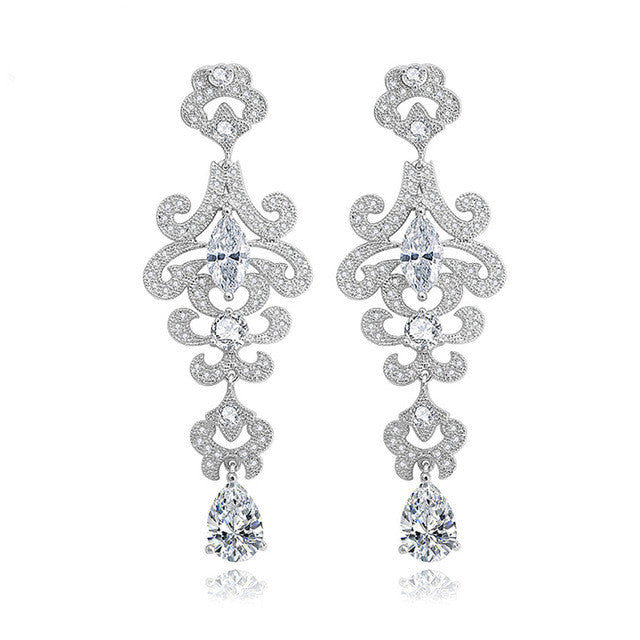 Luxury Special Design Cubic Zircon Crystal Earrings - FabFunBride