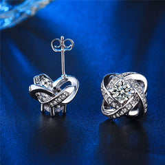 Silver Color Classic Design Twist Love Knot Post Stud Earrings - FabFunBride