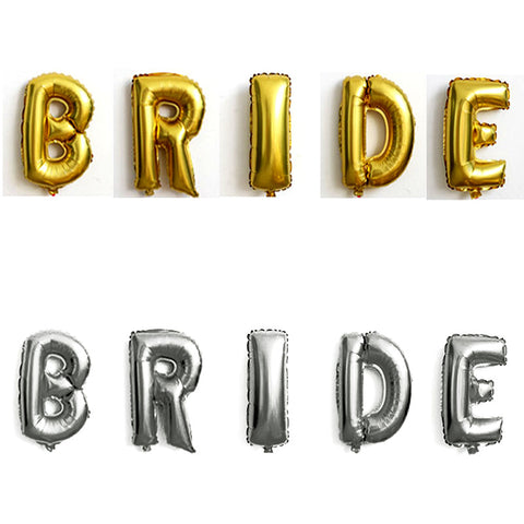 40 inches Gold Silver Letter BRIDE Foil Balloons Wedding Decorations Ballons Air Inflatable 5pcs Letters - FabFunBride