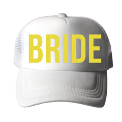 GROOM BRIDE SQUAD Golden Print Bachelorette Hats Caps White - FabFunBride