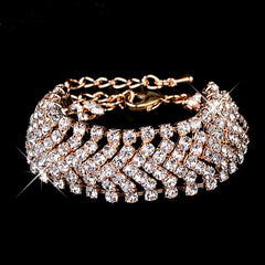Gold Color/Sliver Plated Crystal Wide bracelet - FabFunBride