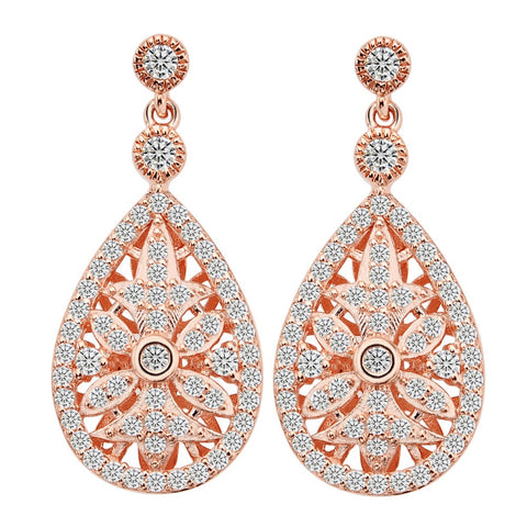 Rose Gold Cubic Zirconia Drop Earrings High Quality - FabFunBride
