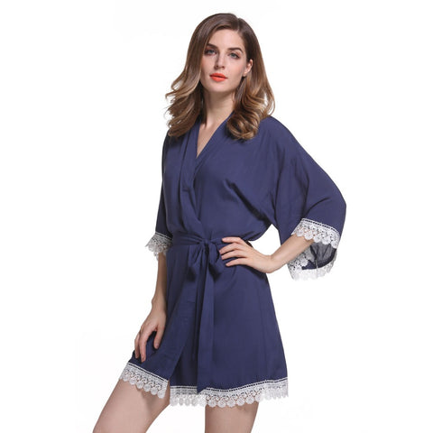 New Solid Cotton Kimono Robes With Lace Trim Women Wedding Bridal Robe Short Belt Bathrobe Sleepwear 7 colors Free Shipping - FabFunBride