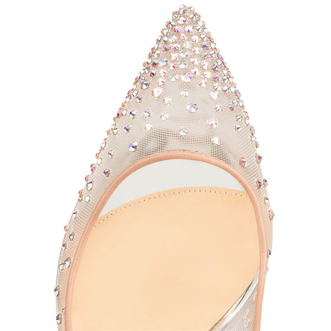 Crystal Rhinestone Transparent mesh pumps - FabFunBride