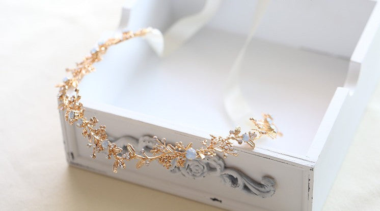 Vintage Gold Flower Leaf Headband Hair vine - FabFunBride