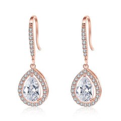 Vintage Stunning Waterdrop CZ Teardrop Earrings - FabFunBride
