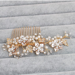 Gold Exquisite Flower Bridal Hair Vine Comb Handmade Crystal Pearl - FabFunBride