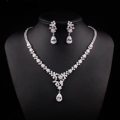 Gorgeous Floral Design CZ Zircon Necklace Earring Jewelry Set for Bride/ Bridesmaid - FabFunBride